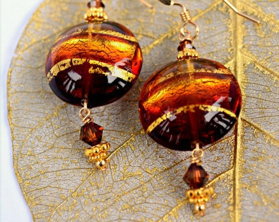 Murano Jewelry ~ Brown Murano Earrings With 24k Gold Foil