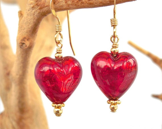 Ruby Red Heart Earrings | Girlfriend Fiancee | Match Bridesmaids Colors