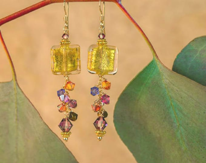 Featured listing image: Gold Square Earrings With Swarovski Crystal Dangle