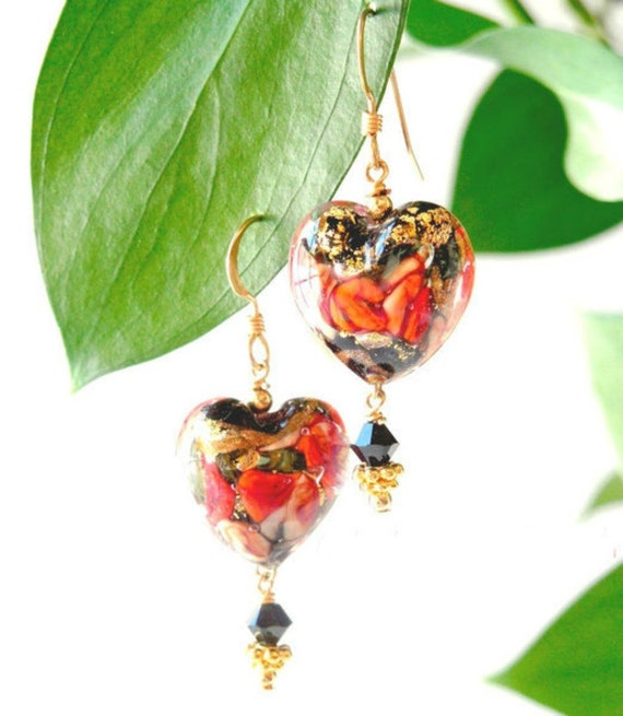 Red Heart Earrings ~ Murano Glass Jewelry With 24k Yellow Gold Foil