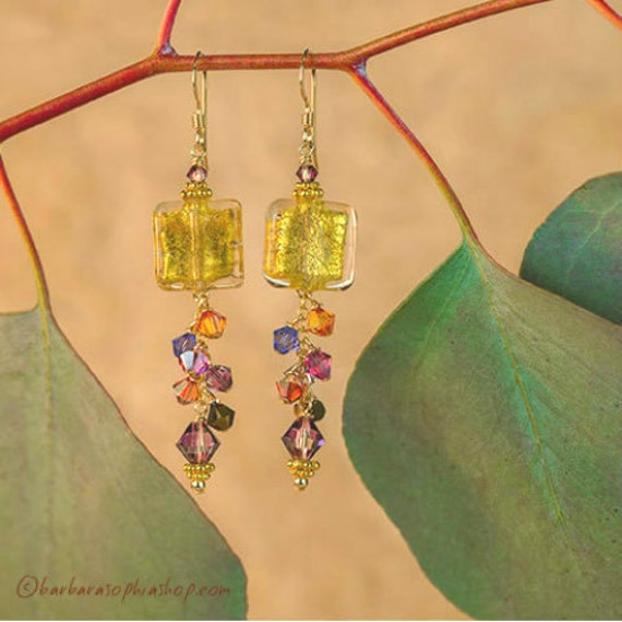 Gold Square Earrings With Swarovski Crystal Dangle