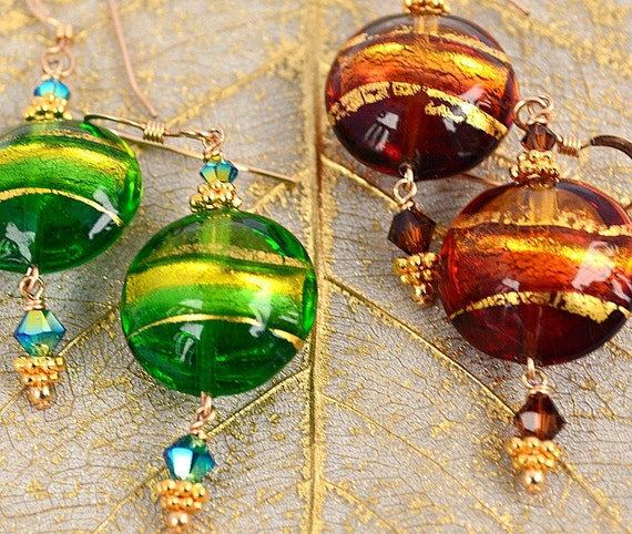 Murano Glass Earring Options | Murano Glass Jewelry | Venetian Jewelry Options |  Murano Venetian Jewelry |  Choice Brown or Green Earrings