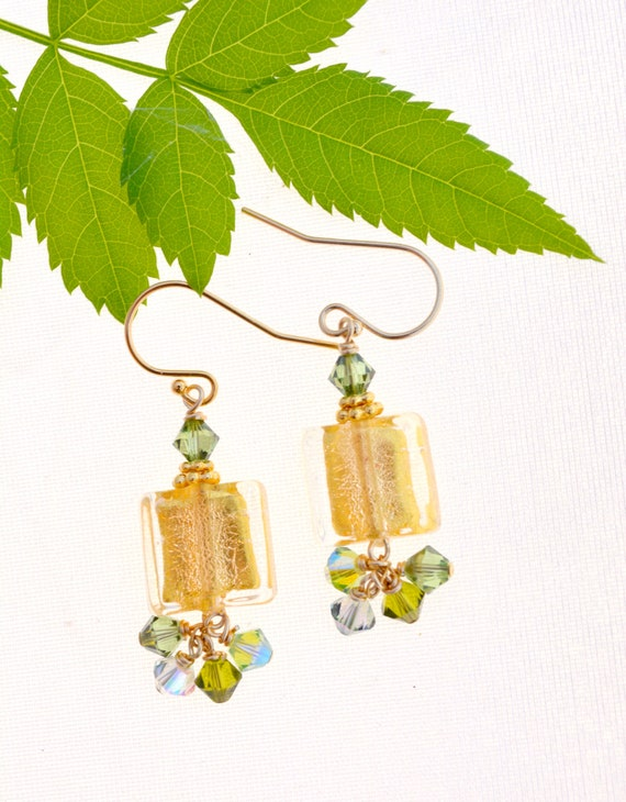 Gold Square Glass Earrings