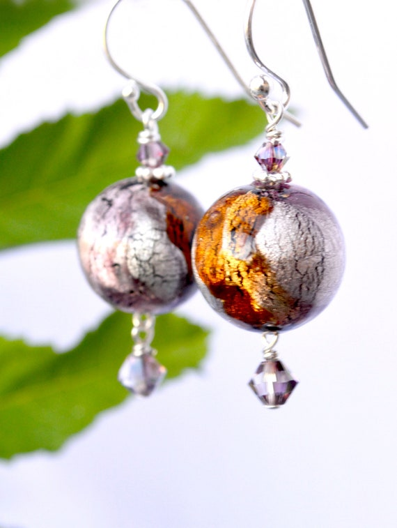 Purple and Copper Earrings
