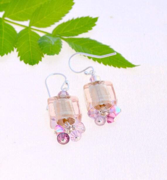 Pink Venetian Glass Earrings