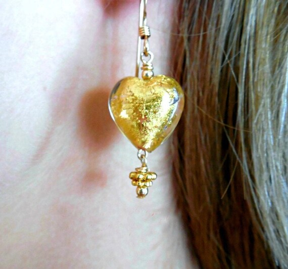 Dainty Gold Murano Glass Heart Earrings