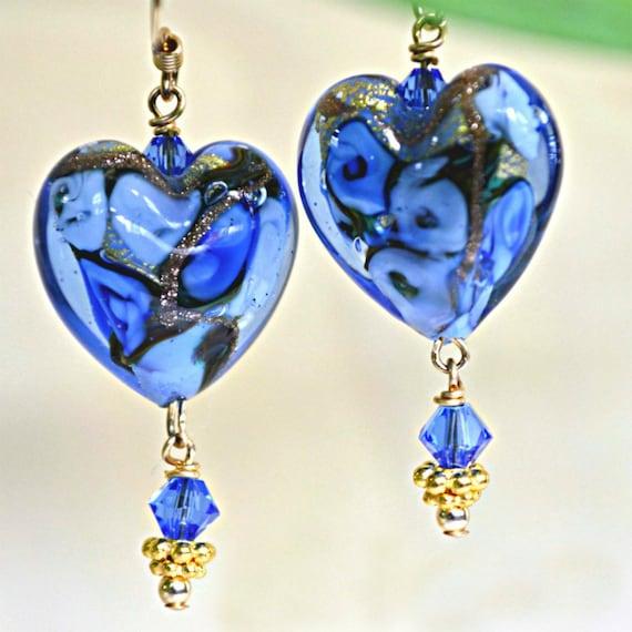 Floral Murano Heart Earrings With 24k Gold Foil Encased