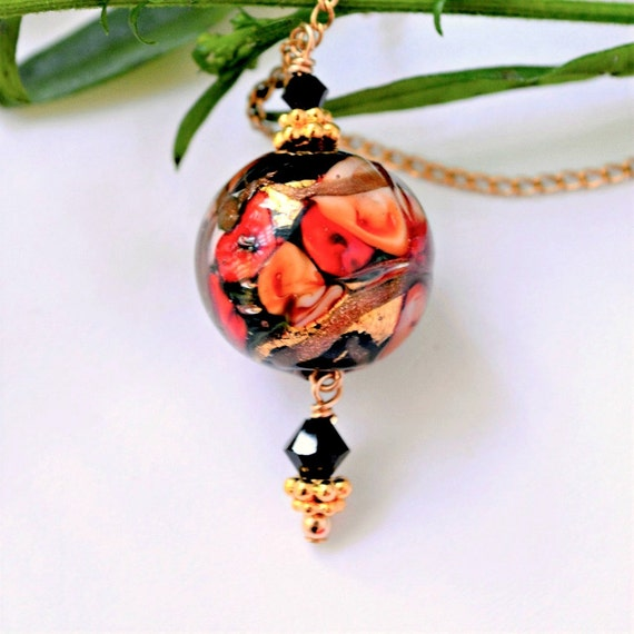 Red Pendant Necklace ~ Venetian Glass Jewellery