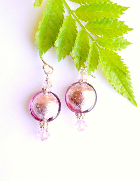 Fuschia Glass Earrings