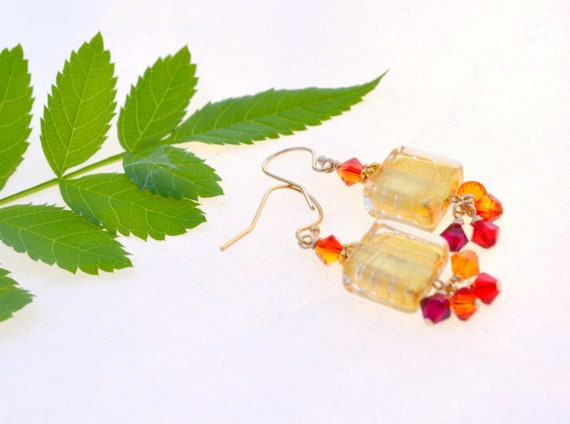 Gold Earrings | Handblown Murano Glass | Christmas Jewelry Gift for Her
