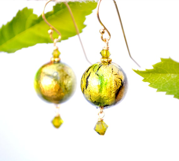 Round Green Earrings