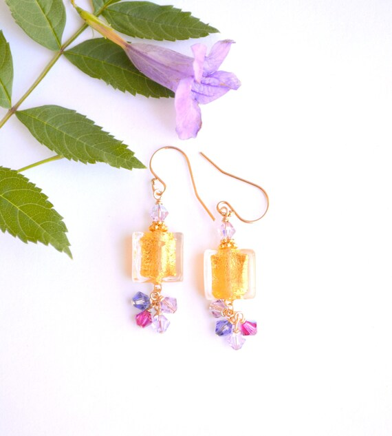 Gold Square Bead Earrings
