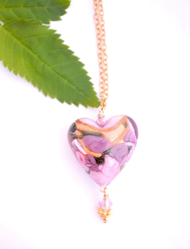 Floral Heart Necklace Daughter Valentines Day Gift Sister Mom Murano Glass Gift for Her