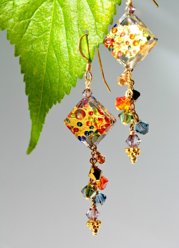 Murano Glass Jewelry by Barbara Sophia | Unique Murano Beads | Murano Venetian Glass Earrings | Handmade Cascading Dangle Earrings