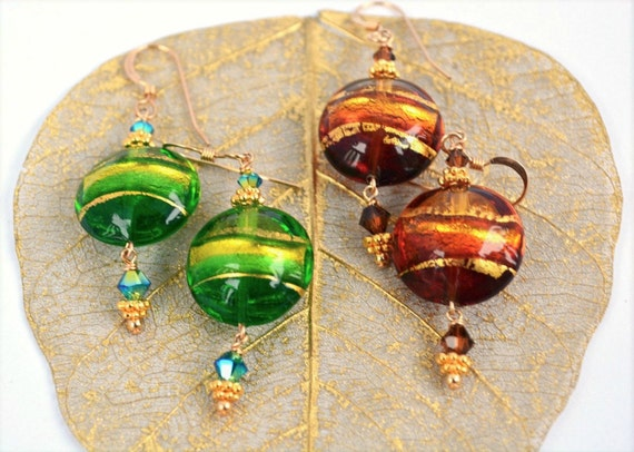 Murano Glass Earrings | Choose Lime Green or Brown Color Option | Sterling Silver or 14k Goldfill Findings