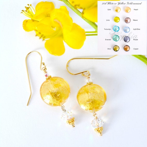 Murano Glass Dangle Earrings ~ Glass Color Options Available
