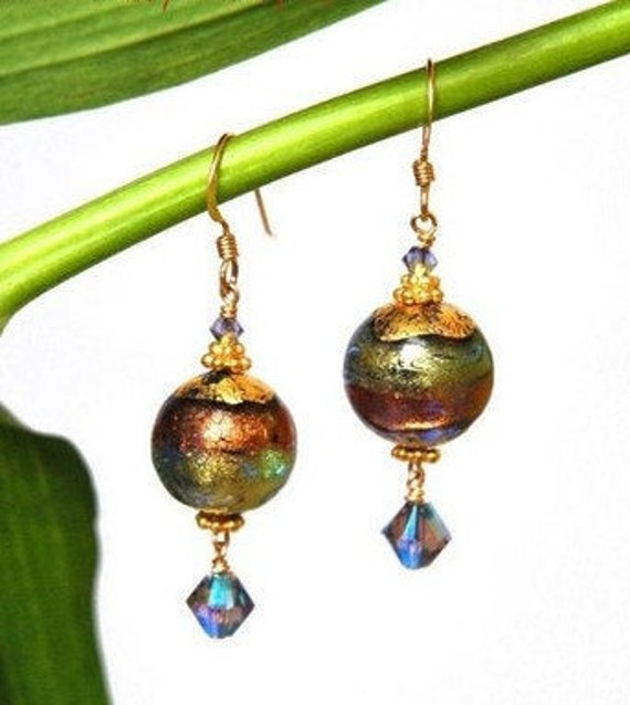Blue Brown Glass Earrings ~ Murano Jewelry
