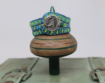 BEADED CUFF BRACELET - Triple Wrap Cuff - Handcrafted - Free Shipping