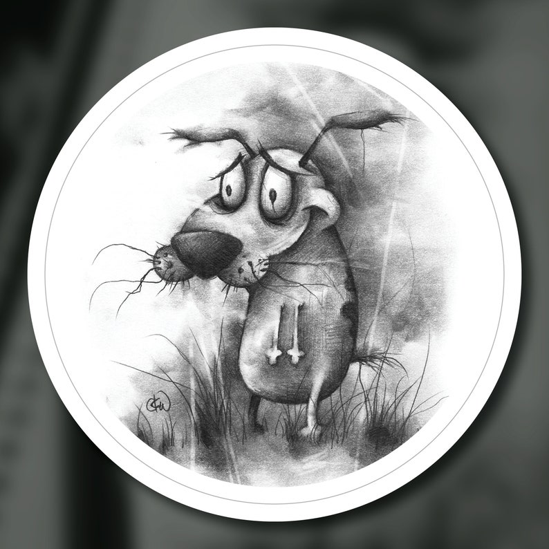 The Cowardly Canine Sticker