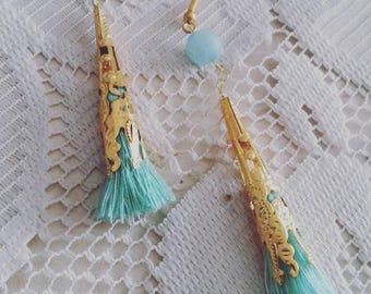 Mint Green Tassel Earring,Mint Green Earrings, Green, Bridesmaid Earrings, Gift, Wedding Earrings, Custom Wedding Jewelry, Jade Earring