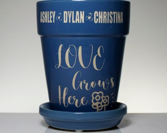 Love Grows Here - Personalized Flower Pot - Engraved, Mothers Day, Fathers Day, Friendship, Thank You, Grandmother, Dad, Mom, Spring