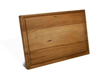 Reversible Personalized Cherry Wood Cutting Board 8 x 12 x .75 Inch Carving Board with Juice Groove