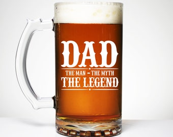 Dad The Legend, Custom Etched Beer Glass, Message for Him, Congratulations, Baby Gifts, Fathers Day, Gifts for him