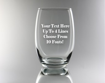 Custom Etched Stemless Wine Glass - Message for Him or Her, Congratulations, 21st Birthday, Anniversary
