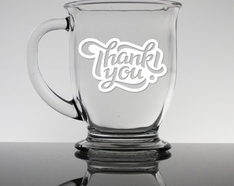 Thank You - 16oz Coffee Mug - Personalized Coffee Mug, Custom Bistro Cup, Engraved Office Gift, Fathers Day, Friendship