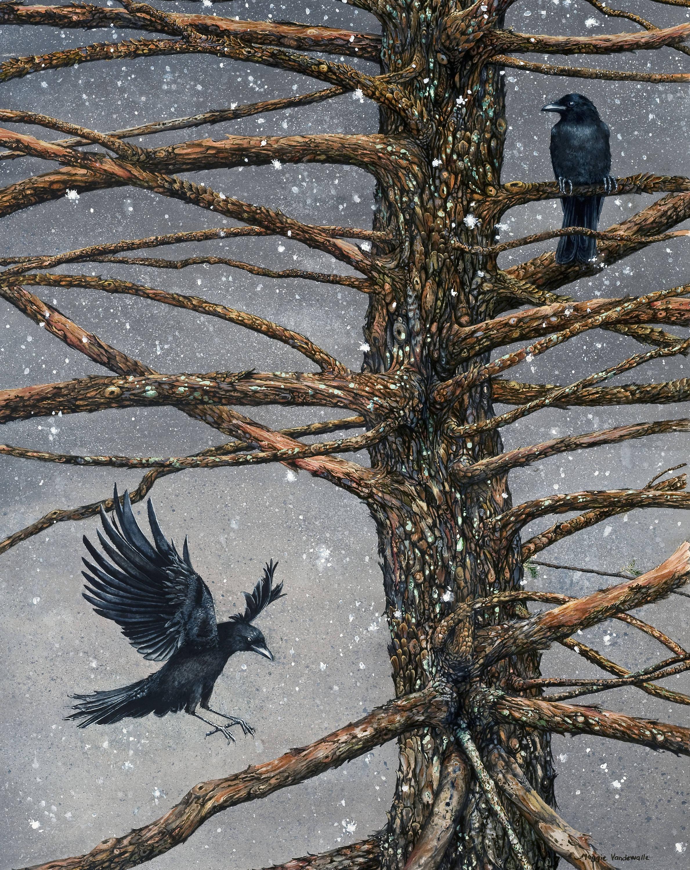 Watercolor Print Corvus Corvidae And The Cedar By Etsy