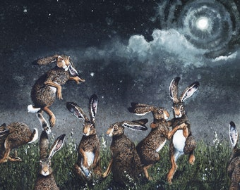 """Watercolor Print, """"Moondance"""" by Maggie Vandewalle. 8"""" x 10"""" print matted to fit an 11"""" x 14"""" frame"""