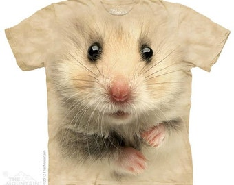 women's t-shirt hamster face stonewashed multicolored graphic tee