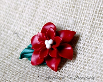 f21999080 Poinsettia Pin, Holiday Pin, Christmas jewelry