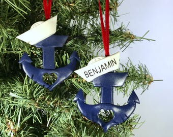 anchor ornament personalized anchor anchor with sailor hat ornament navy ornament christmas ornament holiday ornament navy mom