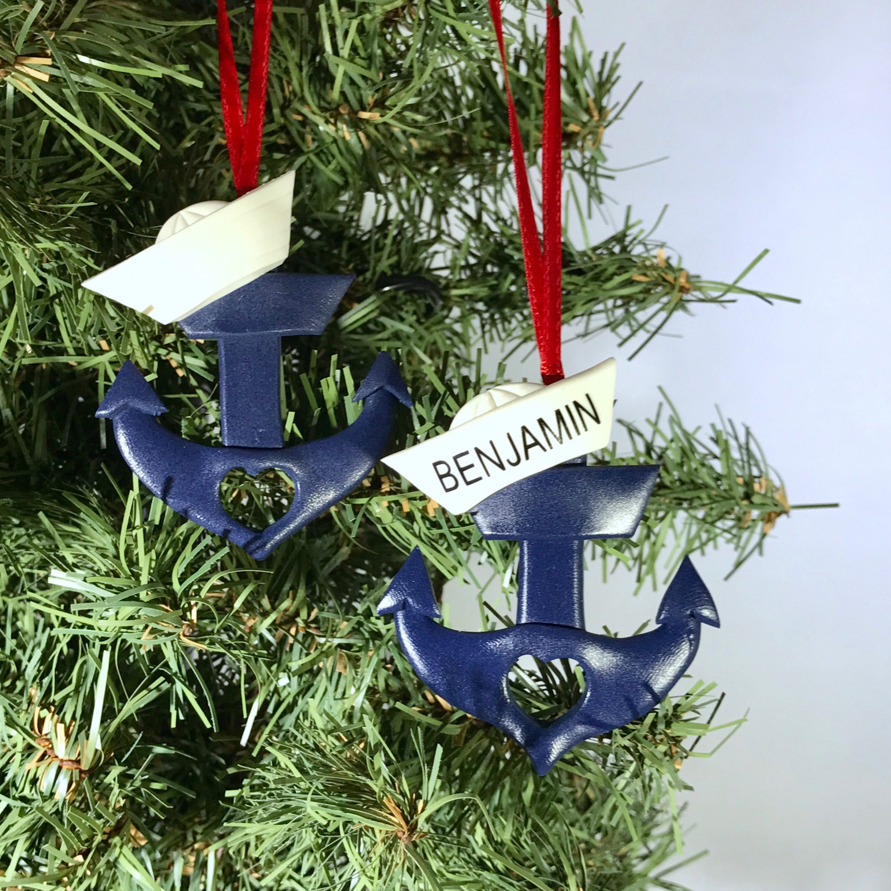Anchor Ornament Personalized Anchor Anchor with Sailor Hat