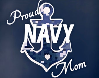 Proud Navy Mom decal, Navy mom car decal, Navy decal, Navy sticker, Blue digital camo decal, Proud Navy mom sticker, Anchor decal