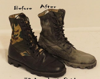 Apocalyptic COMBAT BOOTS, Black Leather Boots, Army Issue Combat Boot, Mens, Jungle Boots, Size 10 W