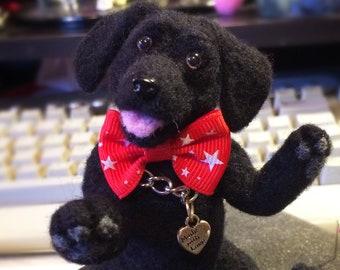 Pose-able Black Lab Puppy-Needle felted Labrador Retriever-Lab Lover Gift-Labrador Desk Companion