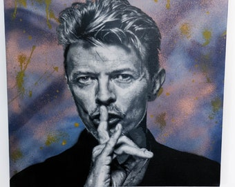 David Bowie stencil spray paint on canvas