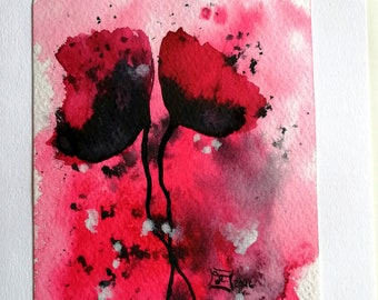 DIN A5 birthday card with poppy seeds, hand-painted, including envelope & inlay, nature art card, zero waste gift, vegan, plastic-free