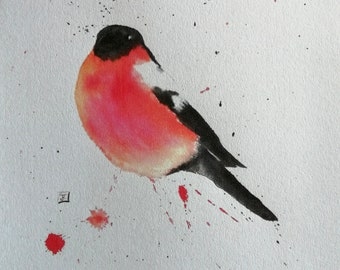Bullfinch - Print - Watercolour Painting- Limited Edition Print of an original Watercolor Animal Art