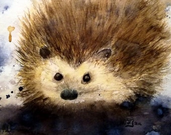 exclusive animal painting - Hedgehog - Size 30x40 cm - Original Painting - Watercolor - unique