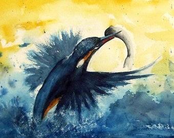 Kingfisher - Animal Painting - original watercolour - Size 40x62 cm