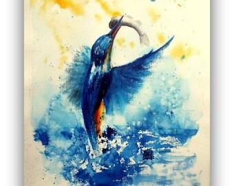 Kingfisher - exclusive Original Painting - unique - Size 30x40 cm - handmade