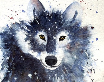 Young Wolf - exclusive Animal painting - original transparent Watercolor - Size 30x40cm