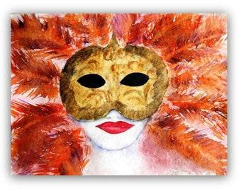 Venetian Mask -  exclusive Watercolor painting - unique - original- Size 24x32 cm