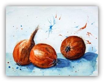 Still Life Onions - original Watercolor - Unique - Size 30x40 cm