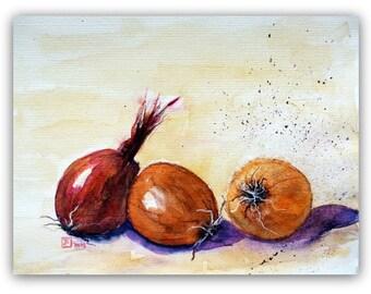 Onions Art - Stillife - Watercolor - Still Life Onions - Size 30x40 cm