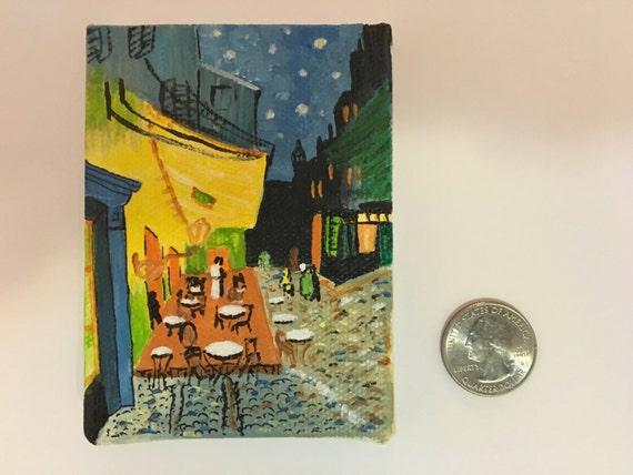 Miniatura Pintura Van Gogh Cafe Terraza De Noche Pequeña Pintura Arte En Miniatura