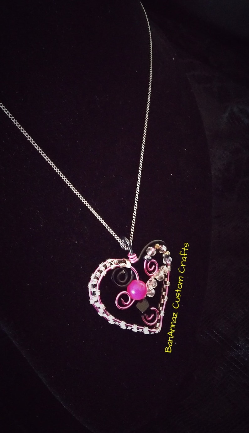 pink and black heart pendant artesian wire wrap pendant christmas gift her heart pendant valentines day necklace BanAnnaz Custom Crafts